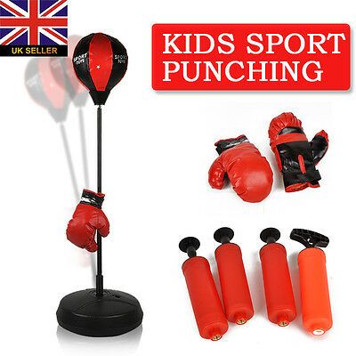 Punch Bag Ball And Mitts Gloves Kit Boxing Set For Kids Free Standing New Boxed