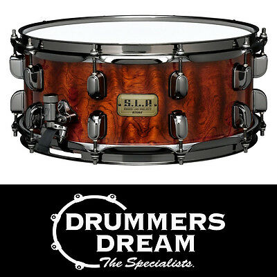 Tama SLP G Bubinga Snare Drum 14x6 Natural Quilted with Black Nickel hardware