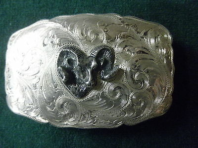 Vintage Smith's Incline Nevada Sterling Silver Belt Buckle Rams Head