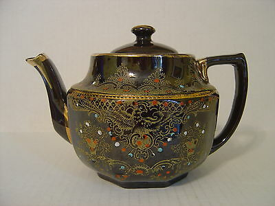 Vintage Heavy Brown Redware Japanese Teapot Hand Painted And Raised Paint Signed