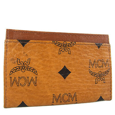 Auth MCM Vintage Logos Pattern Leather Card Case Holder Purse Brown 18510eSaM