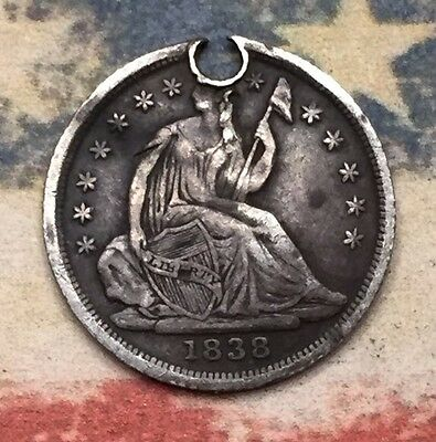 1838 Seated Liberty Half Dime 90% Silver Vintage US Coin #HX9 Very Sharp Appeal