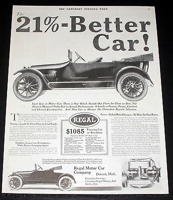 1914 Old Magazine Print Ad, Regal Touring Car Or Roadster, With Lounging Space!