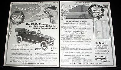 1914 Old Magazine Print Ad, New Peerless Touring Car, The Situation In Europe!