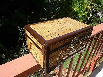 Vintage Asian Hand Carved Camphor Timber Box, Jewellery, Medium, unLined