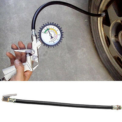 Motorcycle Bicycle Car Flexible Clip On Air Tyre Tire Chuck Inflator Hose Tool