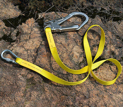 22KN Climbing Protect Safety Belt Harness Lanyard Strap +Carabiner Hook Gear