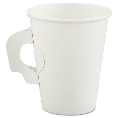 Polycoated Hot Paper Cups with Handles, 8 oz, White 378HW