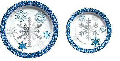 C.R. Gibson Christmas Holiday Dining Party Paper Plates – Winter Snowflakes