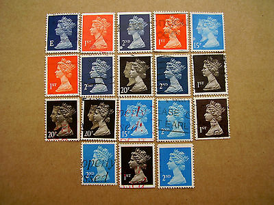 Great Britain DEFINITIVES USED SELECTION of EIGHTEEN from 1989-2008 Period.