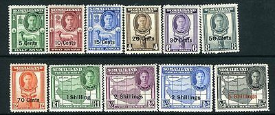 SOMALILAND-1951 New Currency Set to 5/- on 5r Sg 125-135 MOUNTED MINT V13667