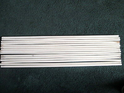 Lot Of 15 Vintage White Ribbed Wood Carpet Stair Rods