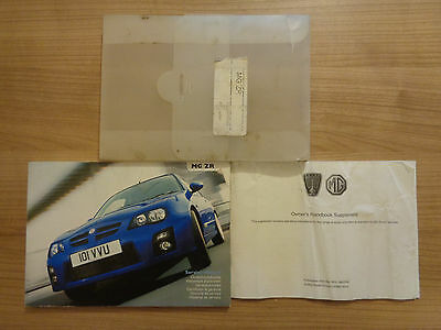 MG ZR Owners Handbook Manual and Wallet 04-06