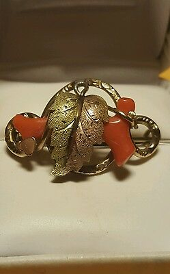 Antique Victorian Branch Red Coral Brooch 14K GF Scroll Carved Pin