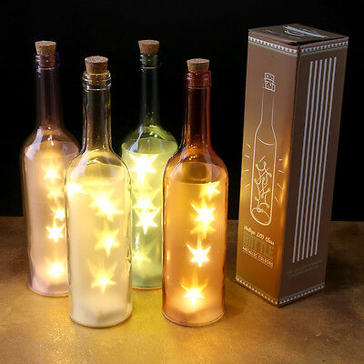 Glass Bottle With LED Star Lights Lovely Decorative Item Pink Blue Purple