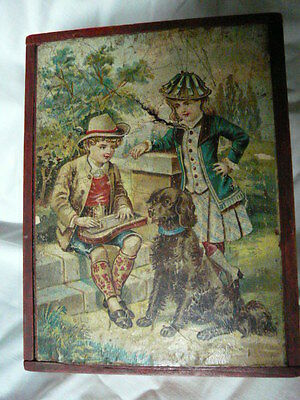 Victorian Wooden Chrome-Litho 12 Blocks Children Playing Puzzle Boxed