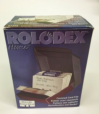 "Vintage Rolodex Home 67355 4"" X 2 1/4"" Index Address Covered Card File W/ Cards"