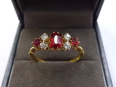 Antique 18ct Gold Ruby & Diamond Ring Size S 1/2