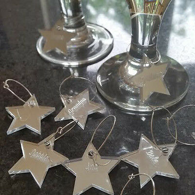 Personalised Engraved Star Name Wine Glass Charms Christmas Tree Decoration- 21