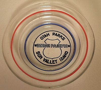 Union Pacific Railroad Glass Candy/Mint Dish Ashtray Utah Parks Sun Valley Idaho