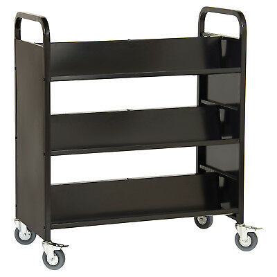 Guidecraft Double-Sided Book Cart Black