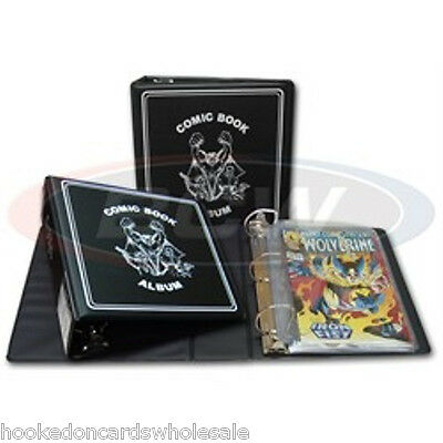 """1 Each - BCW 3"""" Black Comic Book Collector Album Binder & 100 Comic Book Pages"""
