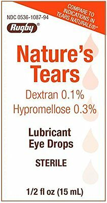 6 Pack Natures Tears Sterile Eye Lubricating Drops for Tears Naturale 15ml Each
