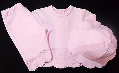 Emile et Rose baby girl top trousers hat set bnwts 0-1 month 1-3 month pink