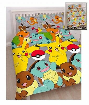 Pokemon 'Catch' Reversible Rotary Double Bed Duvet Quilt Cover Set Brand New