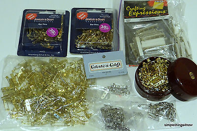 LARGE LOT Gold & Silver BAR PIN BACKS w/ CLASPS for Jewelry Making Crafts A37