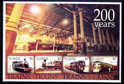 Railways, Train, Steam Engines, 200 yrs, St. Vincent Gr. 2014 MNH 4v SS - E65