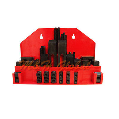"52 PC Clamping Kit 7/16"" T-Slot Stub End Clamp Flange Coupling Step Block"