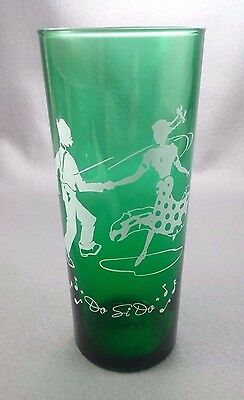 Vintage Anchor Hocking Forest Green Do Si Do Dance Glass