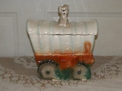 Adorable Vintage Brush Cookie Jar~ Puppy on covered wagon W30