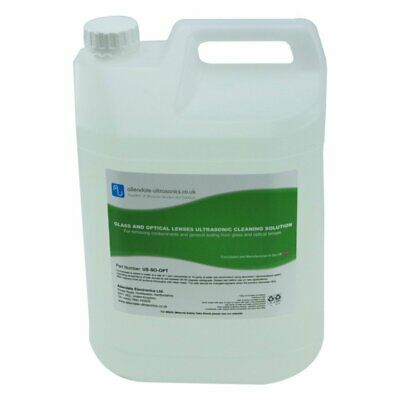 Glass & Optical Lens Ultrasonic Cleaner Fluid Solution Jewellery Spectacles - 5L