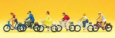 PREISER 10091 1:87 HO SCALE Cyclists X 6