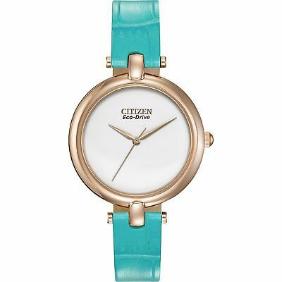 Citizen Eco-Drive Women's Silhouette Turquoise Band 34mm Watch EM0253-20A