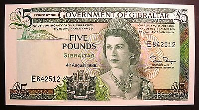 Beau Billet De 5 Pounds**bank Of Gibraltar/ England**1988**neuf/ Unc**