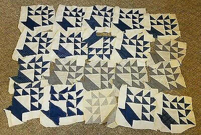 "20 Antique Late 1800's Quilt Blocks All Cotton Indigo Blue 11"" x 11"" NICE NR"
