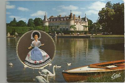 Encased Fabric Covered Ile de France MINIDOLL Chateau in France Postcard