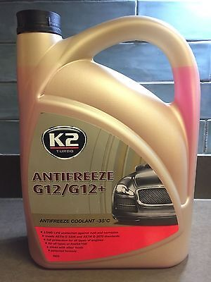K2 Long Life Ready To Use Car Red Antifreeze Coolant, Radiator G12/G12+ -35°C 5L
