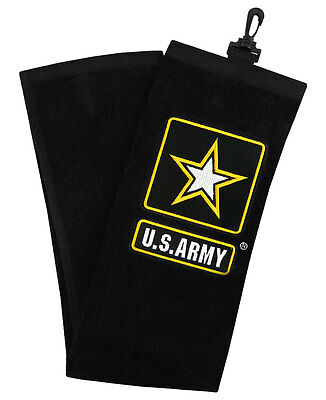 New 2017 Hot-Z US Military Golf Towel, COLOR: Black and Gold, BRANCH: U.S. ARMY