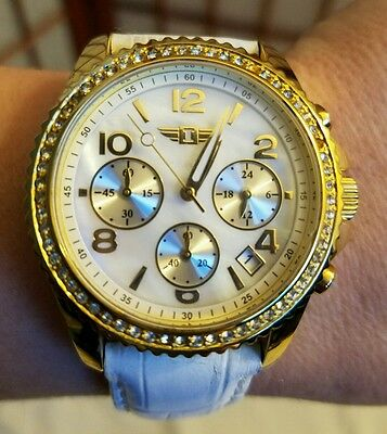 Invicta Womens chronograph gold watch, mother of pearl inlay, white leather band
