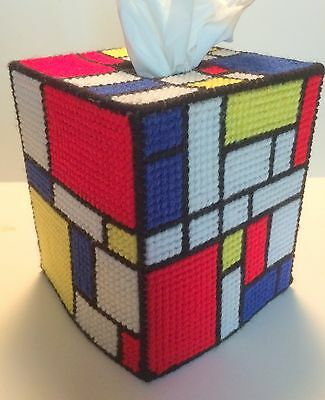 Mondrian Inspired Tissue Cover handmade Boutique size acrylic yarn