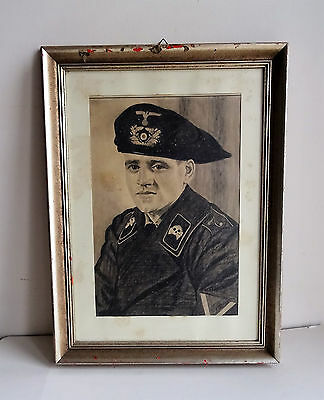 WW2 GERMAN ARMY Portrait Uniform Parett Panzer Tank Elite Hand drawing