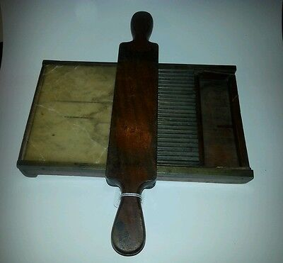 Vintage Pill Tablet Roller Maker,Walnut Wood,Brass, Marble,Apothecary, Pharmacy