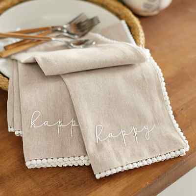 Mud Pie MEA7 Easter Kitchen Dining Happy Chambray Napkin (Set of 4) 4424014