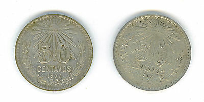 2-1907 Mexico Silver 50 Centavos Cap and Rays Coins With Nice Details