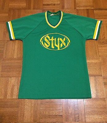 Vintage Styx A&M Records Green Russell Mills Adult Medium Shirt Jersey