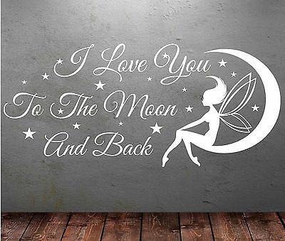 I love you to the moon and back wall sticker Art Wall Art T24